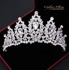 Tiara XL Diadem Krone Strass Kristall Brautschmuck Hochzeit Silber elegant NEU