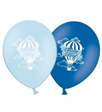 "Baby Boy - Hot Air Balloon - 12"" Printed Latex Balloons Blue Asst pack of 5"
