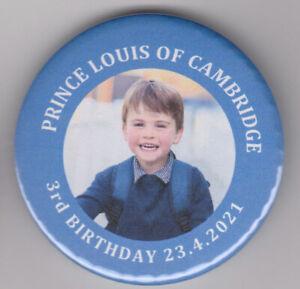 Prince Louis of Cambridge is 3! Third birthday souvenir badge 2021 - royal pin