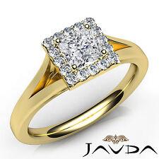 Prong Set Princess Diamond Halo Engagement Ring GIA F VS1 18k Yellow Gold 0.92Ct