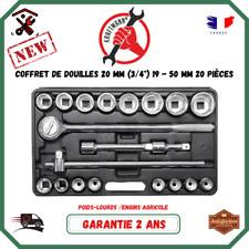 """Coffret Cliquet Et Douilles (3/4"""") 19 - 50 mm 20 Pcs Mecanique Poids Lourds Agri"""