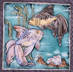 Karlsruher Majolika Wandbild Platte Keramik 20cm Fisch fish vintage
