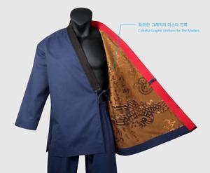 MOOTO Geum Gang Grand Master Navy Dobok Uniform TaeKwonDo Gi TKD Black Neck