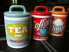 retro glossy ceramic tea coffee sugar storage jars canisters 50's style jars pot