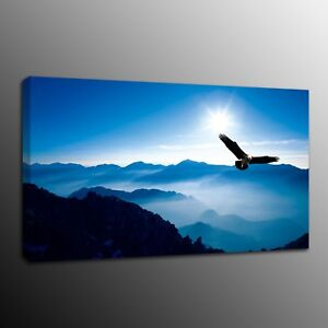 Canvas Prints Painting Picture Eagle Blue Mountain Wall Art Home Decor No Frame