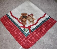 "Avon Scarf Vintage holiday Bears/Plaid Red Large 35"" x 35"""
