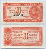 YUGOSLAVIA 20 DINARA 1944 P 51 UNC