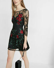 new $128 SOLDOUT EXPRESS embroidered rose lace sequin shift dress L LARGE