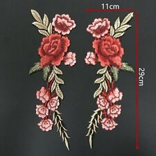 2 x Embroidery Rose Flower Sew On Patch Bag Badge Hat Jeans Dress Applique Craft