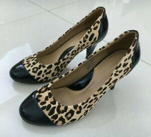Florsheim Womens Size 37 Leather Leopard Print Heels Animal Print