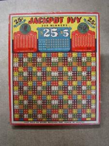 Large Unused Vintage Punch Board ''Jackpot Ivy'' 25 Cent Gambling Trade Card
