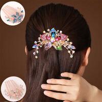 Elegant Inlaid Flower Comb Hair Hot Accessory Women Rhinestone Headwear Hairpin