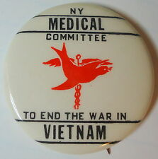 NY Medical Committee To End War In VIETNAM Peace Pin! Dove & Caduceus