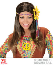 Brown Straight Hippie Wig With Daisy Headband 70S Fancy Dress Costume Accessory