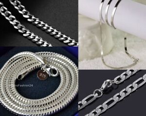 Snake Chain Curb Chain Figaro Chain Necklace 925 Silver Plated Stainless Steel