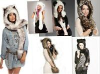 Unisex Faux Fur Animal Women Men Hat with Long Scarf Mittens Paws Wolf Beanies
