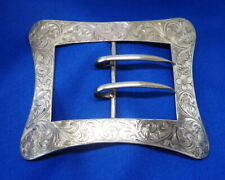 "Huge Victorian Sterling Silver La Pierre Co. Chased Large 4.25"" Sash Belt Buckle"