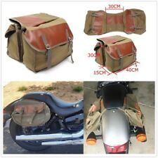 New Canvas + Leather Motorcycle Motorbike Saddle Bag Small Pockets Luggage Bag