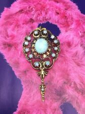 VINTAGE ESTATE BROOCH OPAL PIN 14KT GOLD