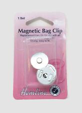 Hemline Magnetic Bag Clip Closure - 19mm - Silver Clasp Fastener