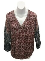 Lucky Brand Long Sleeve Floral V-Neck Blouse Large