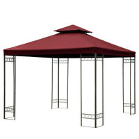 3x3m Gazebo Top Cover Double Tier Canopy Replacement Patio Pavilion Sunshade +3
