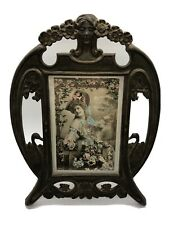 Art Nouveau Photo Frame with French Tinted Postcard Antique Vintage Bronze