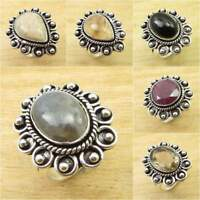 925 Silver Plated BLUE FIRE LABRADORITE & Other Gemstones ANTIQUE LOOK Ring NEW