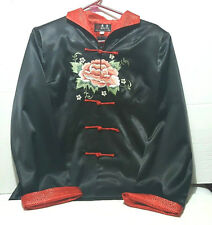 Geng Ling Women's Black Silk Embroidered Traditional Chinese Blouse Rose M
