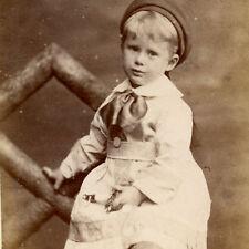 1880s LITTLE BOY IN SMOCK DRESS HAT CDV PHOTO CARTE DE VISITE BAYSWATER CHILDREN