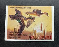 WTDstamps - 1992 INDIANA - State Duck Stamp - Mint OG NH