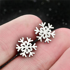 Real 925 Silver Unisex Screw Back Frozen Snowflake Flower Charm Stud Earring
