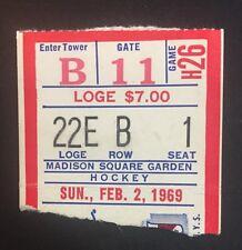 1969 New York Rangers vs Penguins Ticket Stub February 2 Msg No Crease