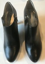 Style & Co Women's Ankle Boots Black Leather Platform Heel Side Zipper Size 9.5