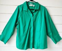Chico's Blouse No Iron Button Shirt Long Sleeves Roll Cuffs Kelly Green Size 3