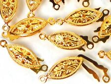 15 Gold Plated Brass Fish Hook Clasps Filigree Horse Eye Oval Fishhook 20x6mm