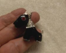 VTG  STYLIZED ART DECO PLASTIC JEWELED SCOTTIE DOG PIN BROOCH FROM COLLECTOR