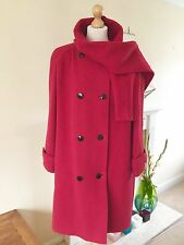Windsmoor Ladies 100% Pure New Wool Dark Red Coat With Matching Scarf Size 16