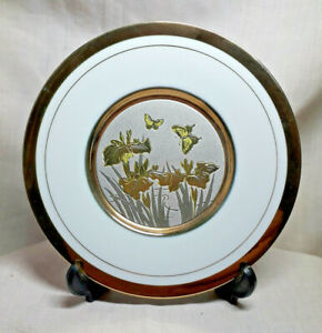 Art of Chokin 24k Gold Edged Plate, Floral & Butterfly Scene, With Box & Stand