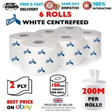 6 Rolls WHITE Centrefeed LARGE 2 Ply 200m Kitchen Hand Paper Towel Office HomeUK