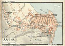 Carta geografica antica CEFALU' Pianta Palermo Sicilia TCI 1919 Old antique map