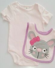 Novelty baby girl bodysuit vest bib set 12 18 months pink bunny rabbit