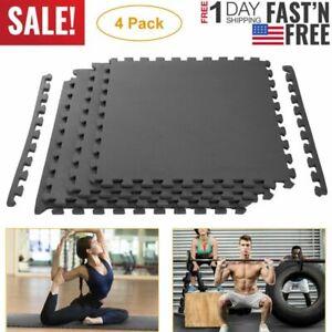 Interlocking Puzzle Rubber Foam Gym Fitness Exercise Tile Floor Mat Cushion 4PCS