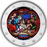 2 Euro Gedenkmünze coloriert Farbe / Farbmünze / Weihnachten / Kirchenfenster