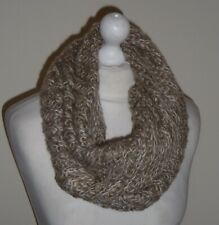 Brown Wool Knitted Infinity Scarf Double Layer Cowl Snood Neck Warmer