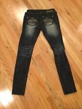 Almost Famous Distress Dark Denim Jeans Rhinestone Rear Pockets Size 5 28/30 Euc