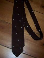 Mens Necktie  Chocolate Brown 100% Silk  Made in Italy Vintage