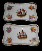 Pair of Small Rectangular Trays from JF et S, Limoges France, Courting Scenes