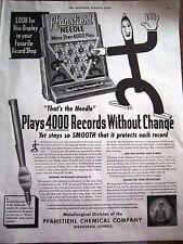 1941 PFANSTIEHL Phonograph Needle Display Ad