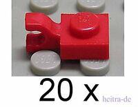 LEGO - 20 x Platte 1x1 rot mit Clip senkrecht / 61252 NEUWARE